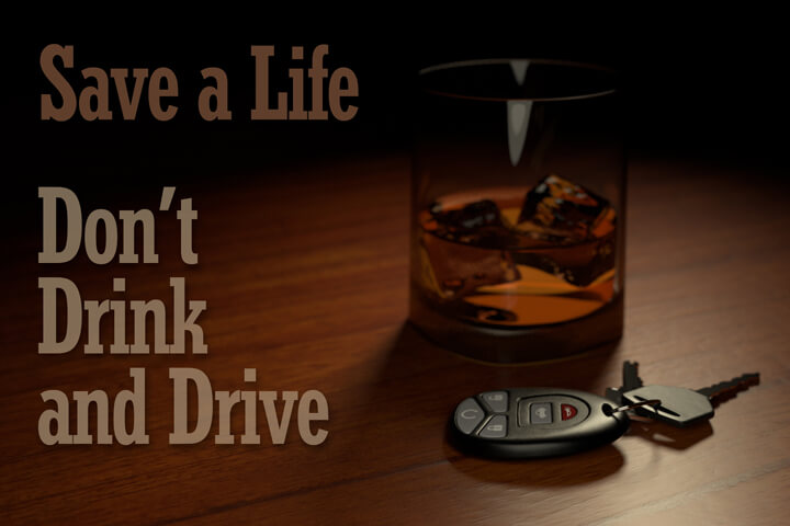 Image showing glass of whiskey and car keys with text Save a life don't drink and drive