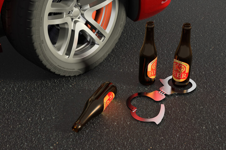 Beer and handcuffs laying on street next to car wheel free DUI arrest image