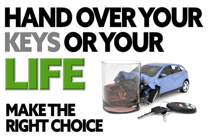 Illustration with text Hand over your keys or your life with DUI accident concept in lower right