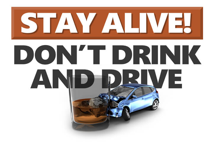 Graphic showing DUI accident with Stay alive don't drink and drive text in background