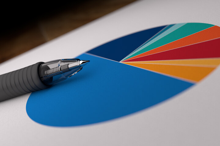 Paper with asset allocation pie chart with ink pen laying on top