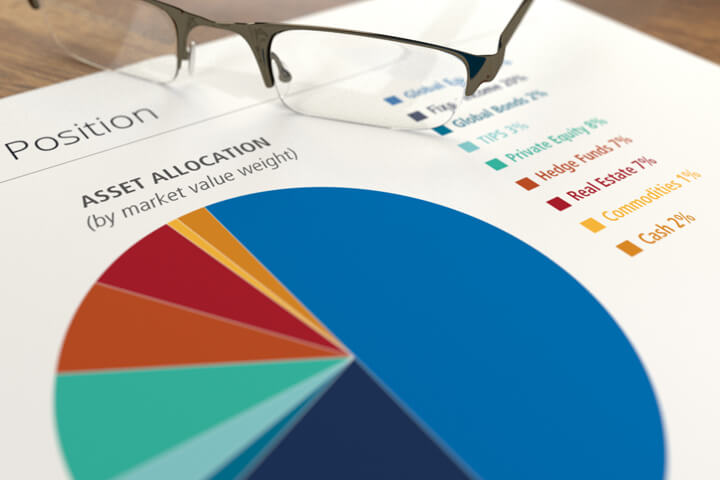 Paper with printed asset allocation pie chart and reading glasses on desk