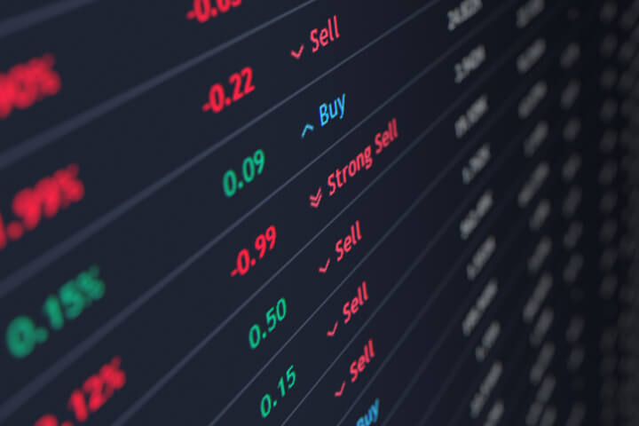 Stock ticker screen showing price, percent change, and buy sell recommendations