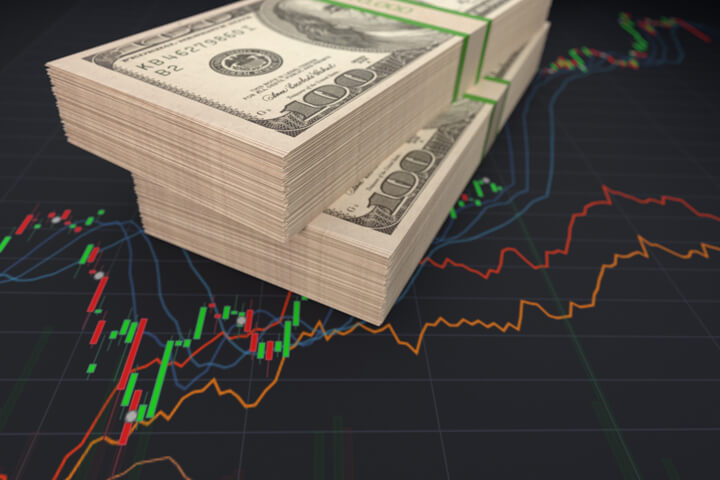 Two bundles of U.S. paper bills on stock price line chart and candlestick chart