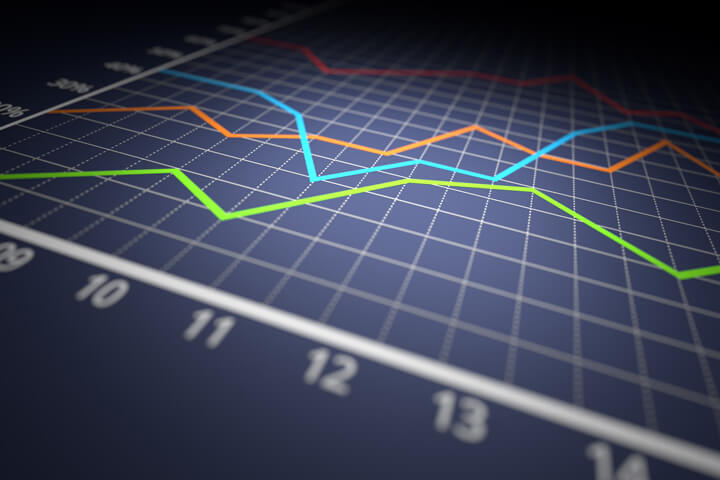 Colorful investment line chart on dark blue background with spot light in center