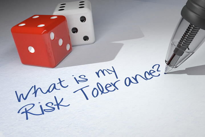 Dice on paper with pen writing What is my Risk Tolerance