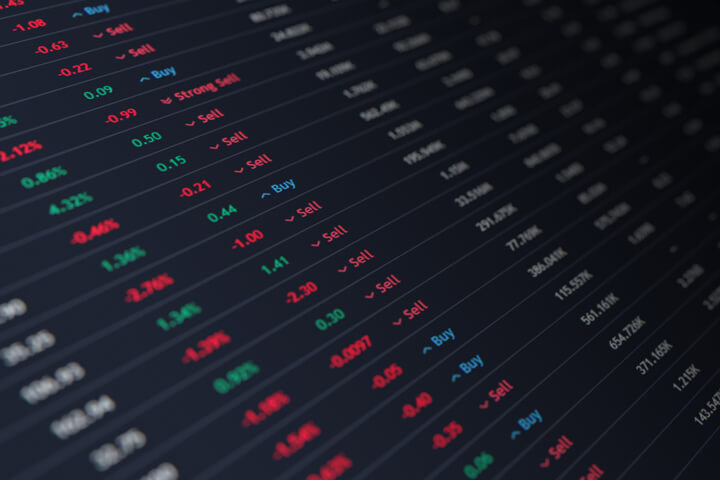 Stock ticker with stock prices, percentage change, buy and sell recommendations, and market capitalization
