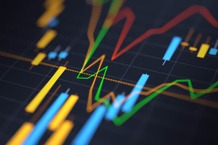 Stock price chart with shallow depth-of-field