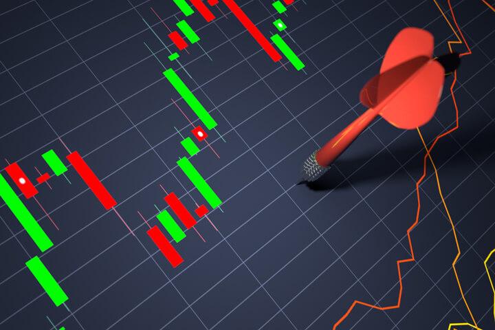 Stock price chart with dart thrown randomly