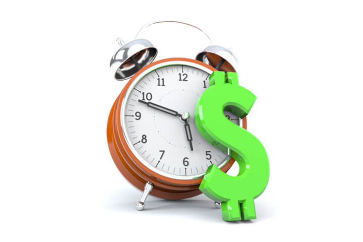Concept image with clock and dollar sign representing time value of money or compound interest