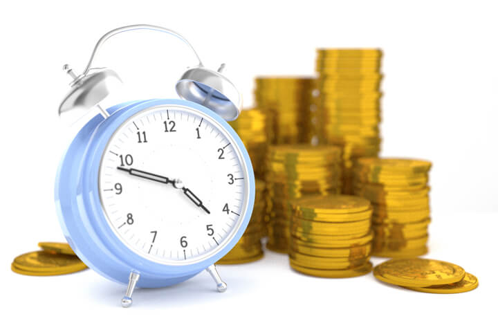 Clock with stacks of gold coins isolated on white background concept for time is money, retirement, or compound interest