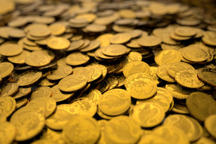 Large pile of gold coins concept for wealth, investment, large returns, or rich