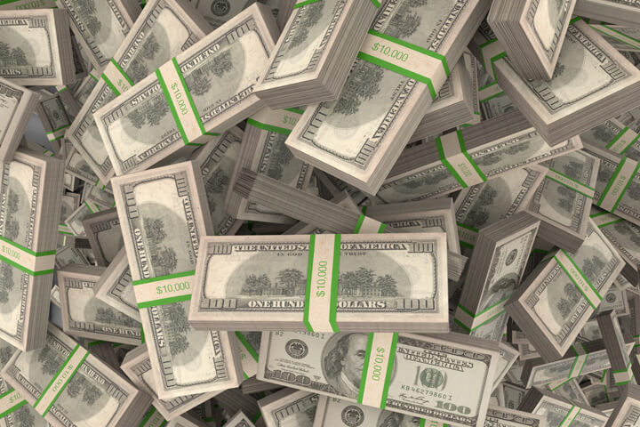 Bundles of U.S. currency randomly falling