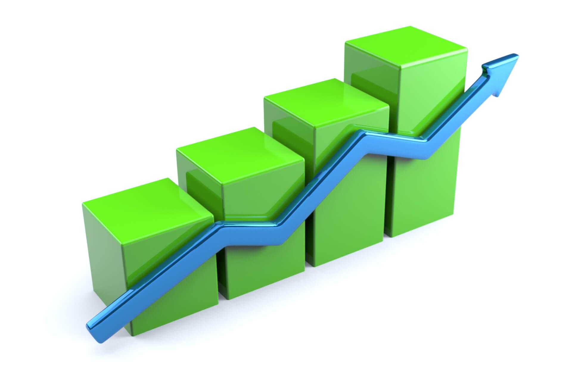 green 3d column chart up arrow free image download