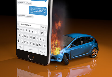 Car on fire after crashing into cell phone when texting while driving