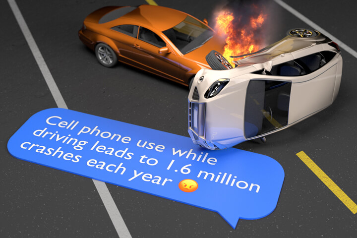 Two car accident with fire on highway and chat message showing how many accident are caused by cell phone distraction