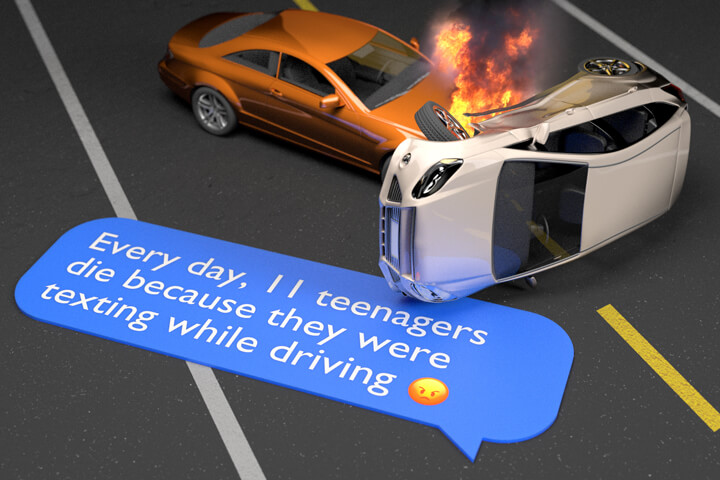 Two car accident with flames next to text bubble showing number of teenager killed each year while texting and driving